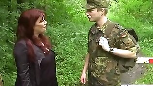 Shameless busty milf loves young soldier teen in woods