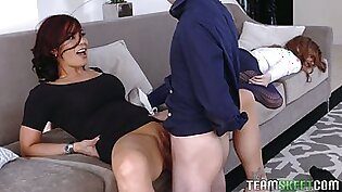 Bad milf fucked stepdaughter's boyfriend while she was passed out
