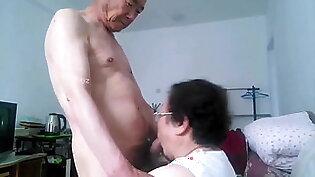 chinese granny gives blowjob