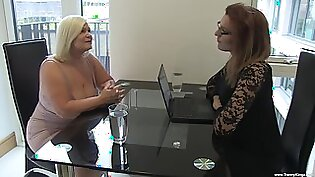 Naughty blonde chick gets her tight pussy drilled by a shemale