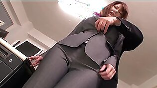 Japanese Office Girl In Ripped Pants gets fucked by her colleague