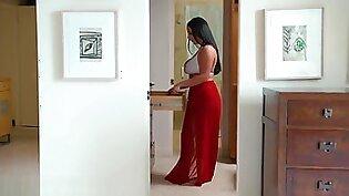 Angela White strips, sucks, and fucks for her husband's promotion