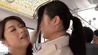 Japanese lesbian get Strapon on bus (HD-1080p)