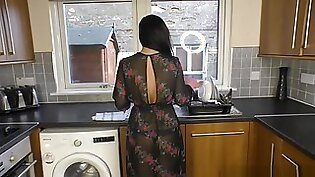 Hot Milf Housewife Licks You Clean With Latex Cleaning Glove On