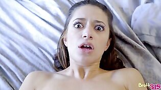 Petite stepsister Izzy Bell is fucked and creampied by kinky step brother