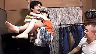 Japanese girl beautiful model forced fucking threesome sex