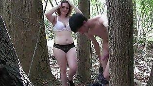White Slut Amy Fucks In The Woods pt1