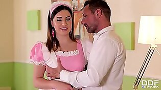 Busty maid, Ally Breelsen is having sex with two horny guys, at the same time