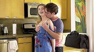 Sensual hottie Kristen Scott gives a sloppy blowjob before a steamy sex