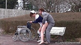 Wild outdoors fucking between a nurse and a lucky patient