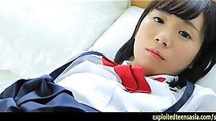 Cute Machida Misana Jav Debut Teen Teases Taking Off Her School Panties And Covering Her Pussy