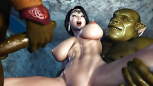 3D Hentai Two Orcs find some Sexy Milf and get her creampied cartoon