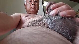Old Japanese man erected naked